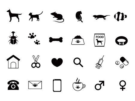 Pet shop icon set.