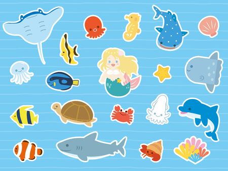Sea animals collection. Illustration