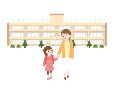 Mother and girl. Illustration