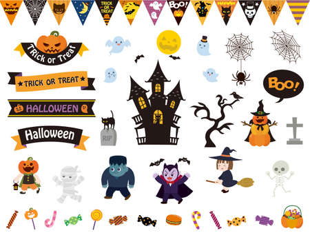 It is an illustration of a Halloween material set.