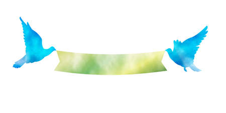 It is an illustration of a Blue bird and green ribbon.