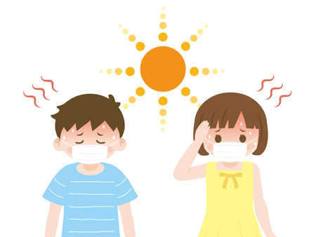 It is an illustration of a Heatstroke kids.