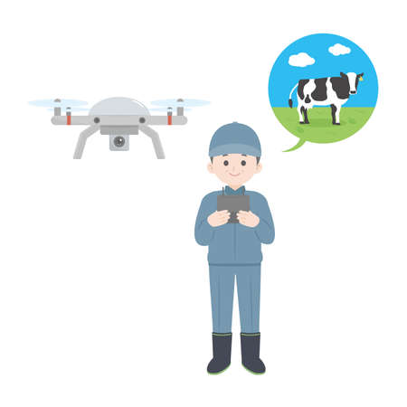 It is an illustration of a Dairy farmer drone operation. 向量圖像