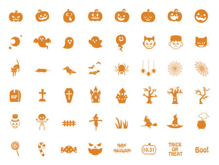 It is an illustration of a Halloween icon set.