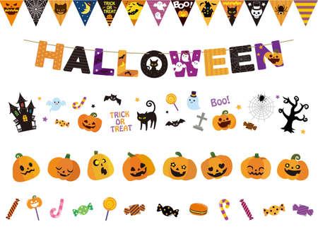 It is an illustration of a Halloween line set. Ilustração