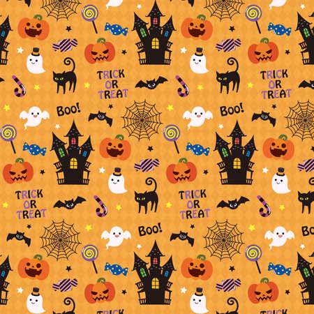 It is an illustration of a Halloween pattern design. Ilustração