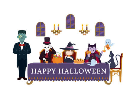 It is an illustration of a Halloween party.  イラスト・ベクター素材