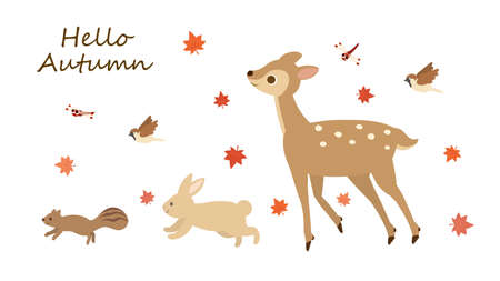 It is an illustration of a Autumn animals.