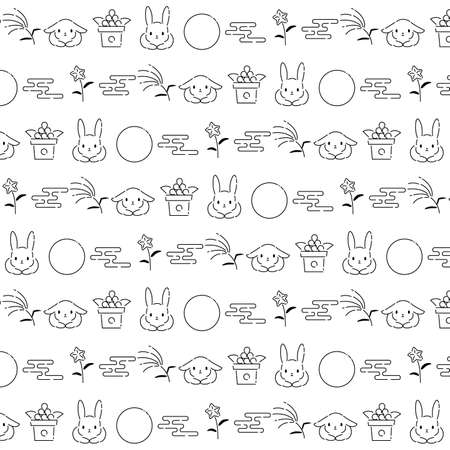It is an illustration of a Tsukimi pattern background.