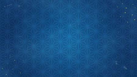 It is an illustration of a Japanese pattern background navy blue. Ilustração