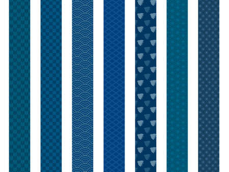 It is an illustration of a Japanese pattern navy blue.