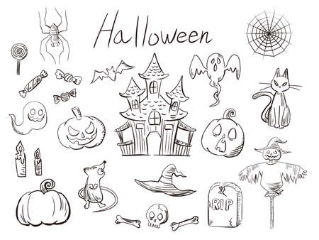 It is an illustration of a Hand drawn Halloween material.