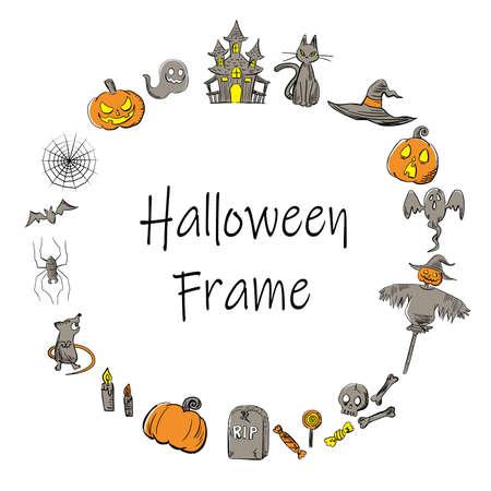 It is an illustration of a Halloween frame design. Ilustração
