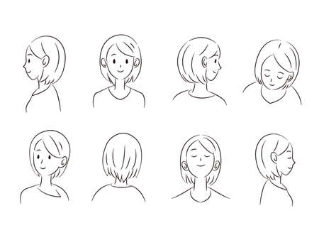 It is an illustration of a Woman angle variation set.