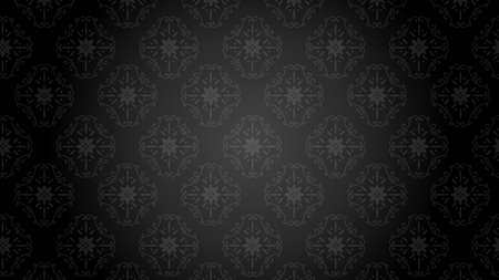 It is an illustration of a Damask background Black.