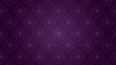 It is an illustration of a Damask background Purple. Ilustração