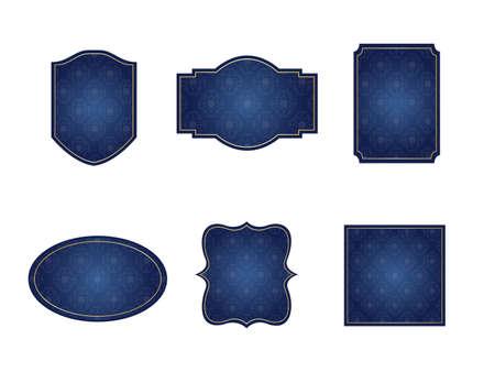It is an illustration of a Damask frame Navy blue. Ilustração