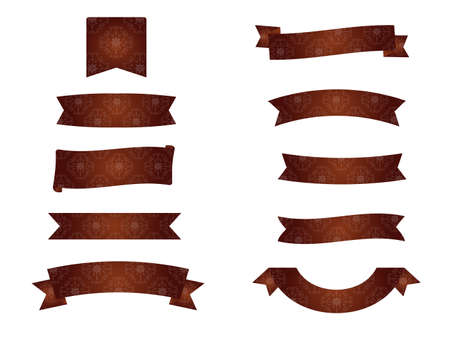It is an illustration of a Damask ribbons Brown. Ilustração