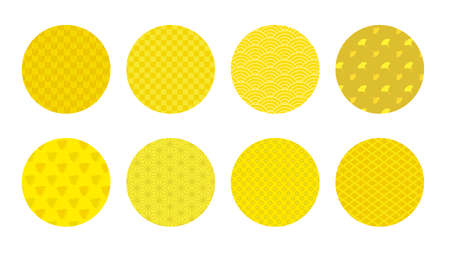 It is an illustration of a Japanese pattern mark set yellow.