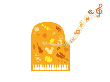It is an illustration of a Autumn music material.