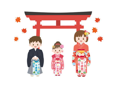It is an illustration of a Shichi-go-san Kids.