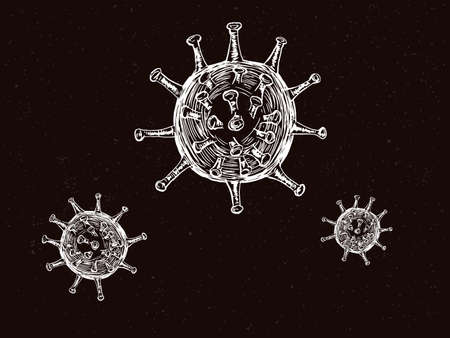 It is an illustration of a Virus illustration hand drawing.