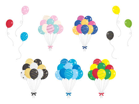 It is an illustration of a Colorful Balloon set. Illustration