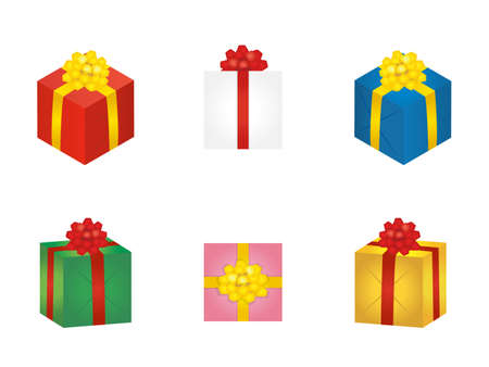 It is an illustration of a Colorful Present box material. Illustration