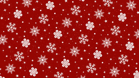 It is an illustration of a Snow crystal pattern background Red.