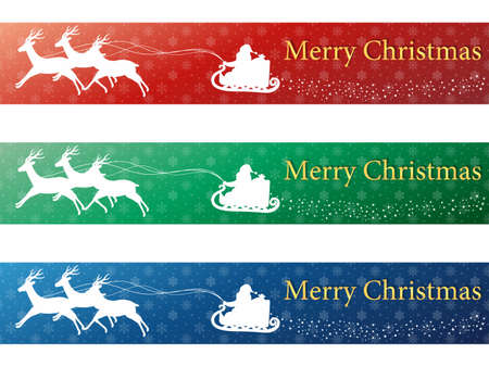 It is an illustration of a Christmas banner design set. Illustration