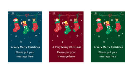 It is an illustration of a Christmas card design color variation. Illustration