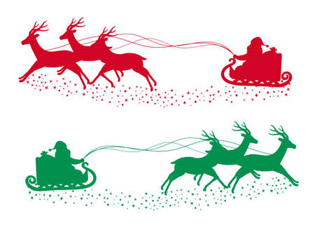 It is an illustration of a Santa claus silhouette material.