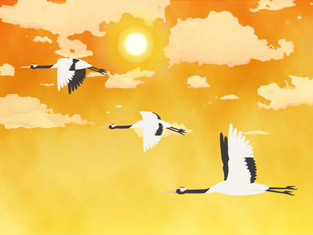It is an illustration of a Crane flying with landscape.