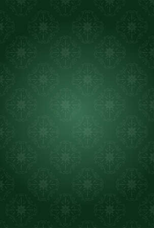 It is an illustration of a Damask pattern background Deep Green. Illustration