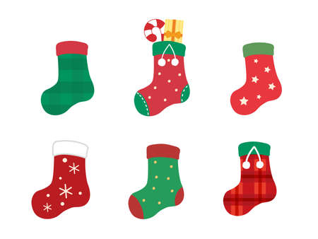 It is an illustration of a Christmas socks variation set.