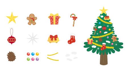 It is an illustration of a Christmas tree decoration set.