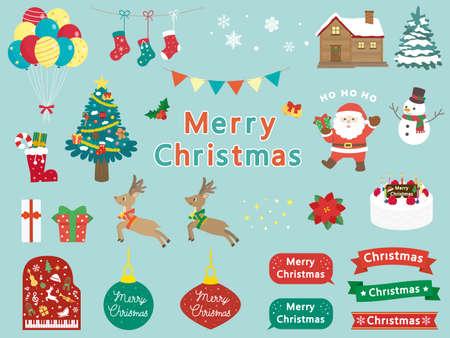 It is an illustration of a Christmas material set. Ilustração