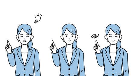It is an illustration of a Businesswoman idea set.