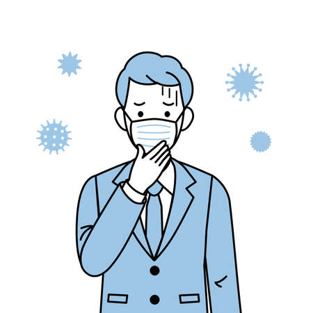It is an illustration of a Man having a cold