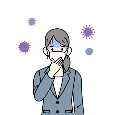 It is an illustration of a Woman having a cold.