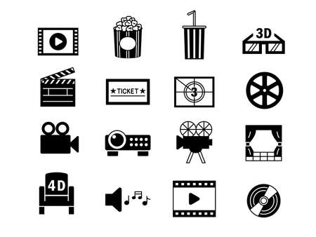 It is an illustration of a Movie icon set.