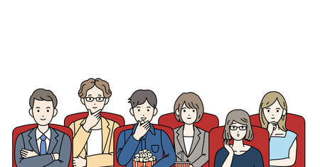 It is an illustration of a Movie theater and People.