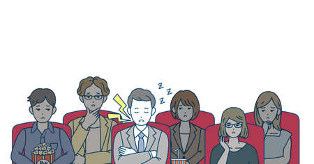 It is an illustration of a Movie theater and People breach of manners.