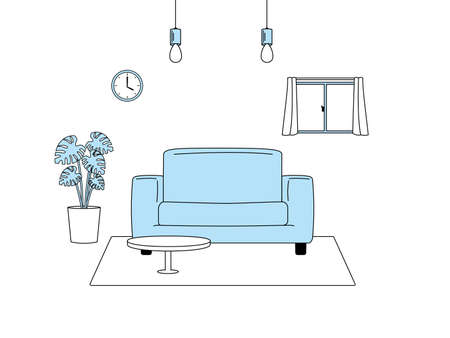 It is an illustration of a Living room.