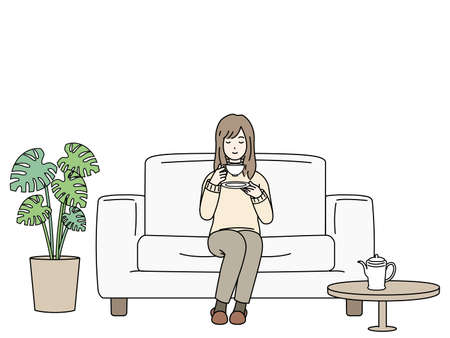 It is an illustration of a Woman relaxing.