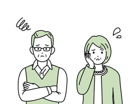 It is an illustration of a Old couple worried.