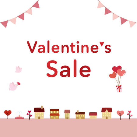 It is an illustration of a Valentine sale card design.
