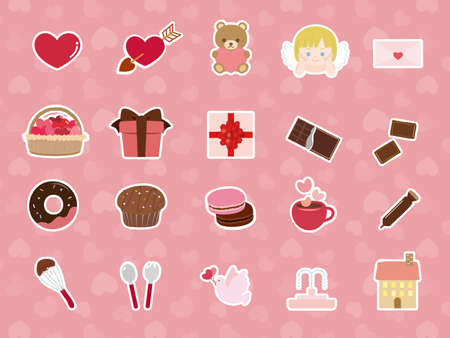 It is an illustration of a Valentine icon set.