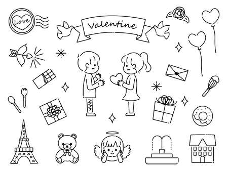 It is an illustration of a Valentine material set.