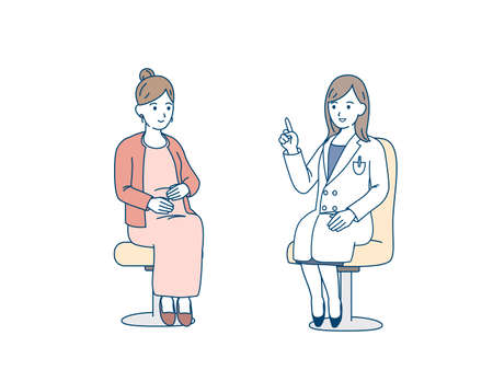It is an illustration of a Obstetrician examination doctor.
